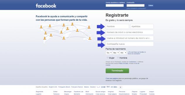 Registrarse en Facebook en español y  Facebook Mèexico