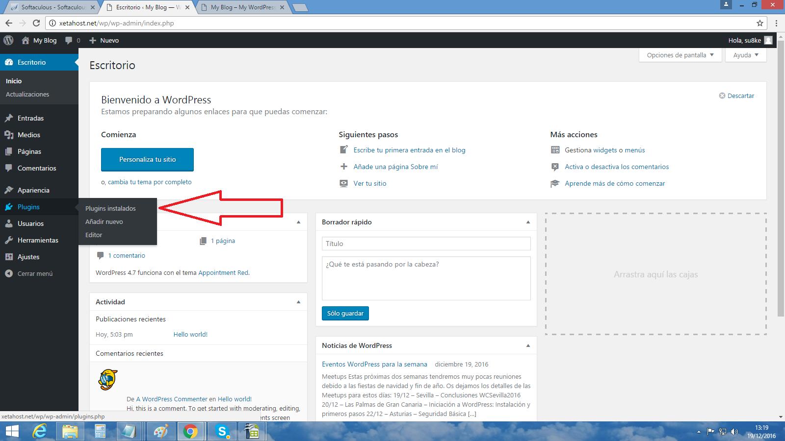 Cómo instalar plugins y complementos para WordPress